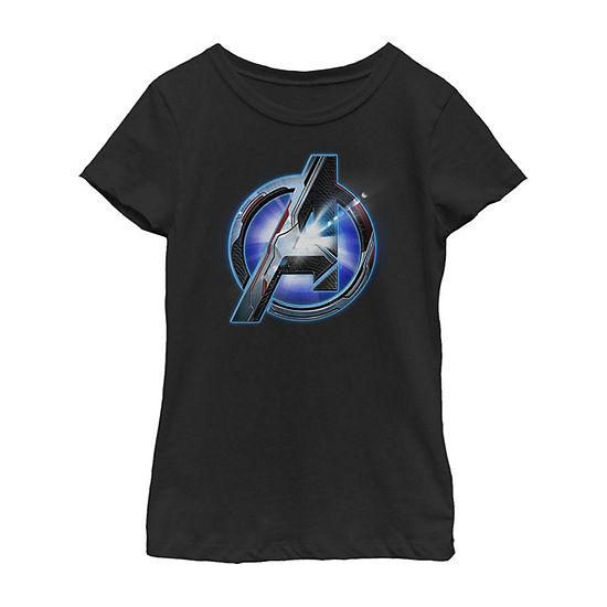 Avengers Endgame Tech Logo Girls Crew Neck Short Sleeve Marvel Graphic T-Shirt - Preschool / Big Kid Slim