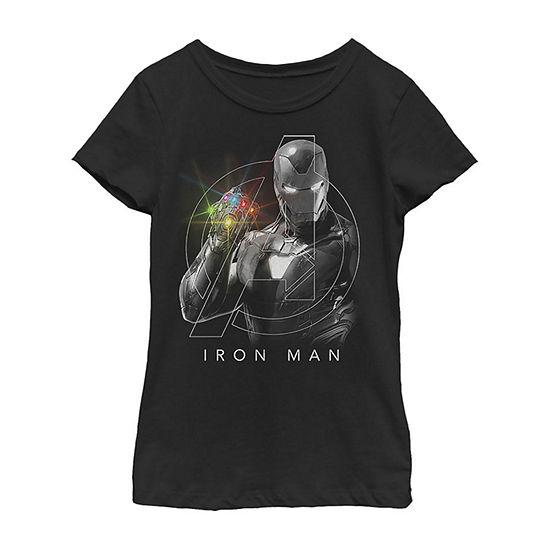 Avengers Endgame Glowing Stones Logo Overlay Portrait - Little Kid / Big Kid Girls Slim Crew Neck Marvel Short Sleeve Graphic T-Shirt