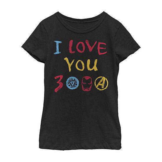 Avengers Endgame I Love You 300 Colorful Text Logo Little & Big Girls Slim Crew Neck Marvel Short Sleeve Graphic T-Shirt