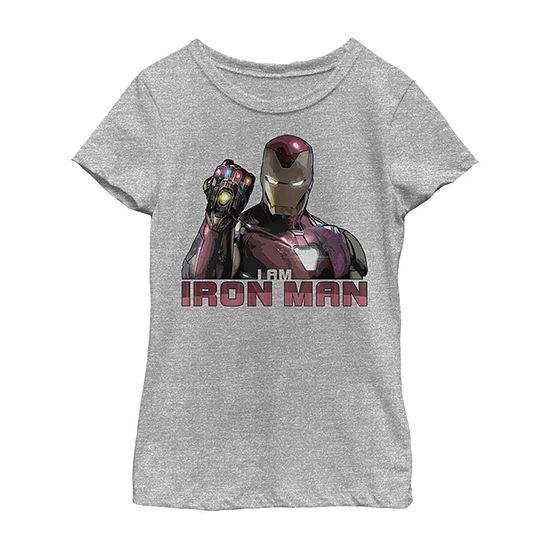 Avengers Endgame I Am Iron Man Movie Quote Portrait Girls Crew Neck Short Sleeve Graphic T-Shirt - Preschool / Big Kid Slim