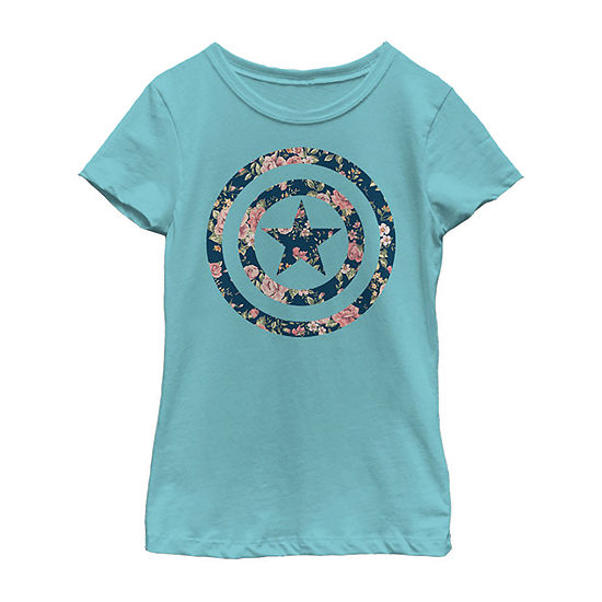 Captain America Floral Print Girls Crew Neck Short Sleeve Graphic T-Shirt - Preschool / Big Kid Slim