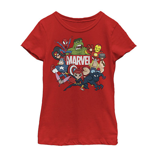 Avengers Cartoon Action Collage Group Shot Girls Crew Neck Short Sleeve Marvel Graphic T-Shirt - Preschool / Big Kid Slim