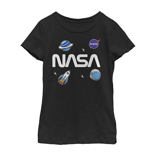 Nasa Space Planet Rocket Sticker Emoji Little & Big Girls Slim Crew Neck Short Sleeve Graphic T-Shirt