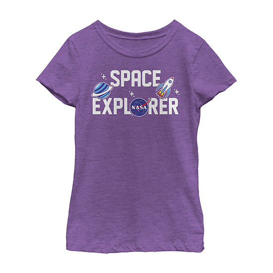 Nasa Space Explorer Cute Sticker Emoji Girls Crew Neck Short Sleeve Graphic T-Shirt - Preschool / Big Kid Slim