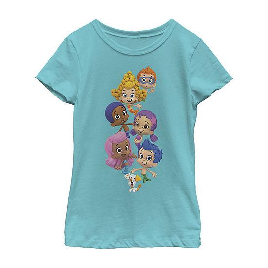 Bubble Guppies Group Stack Collage Girls Crew Neck Short Sleeve Graphic T-Shirt - Preschool / Big Kid Slim