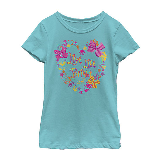 Jojo Siwa Live Life Bright Flowers And Bows Girls Crew Neck Short Sleeve Graphic T-Shirt - Preschool / Big Kid Slim