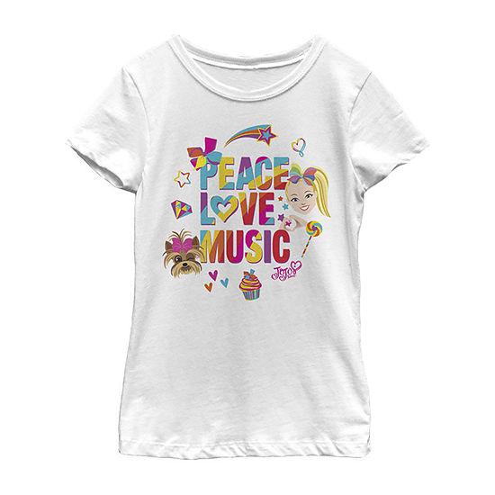 Jojo Siwa Peace Love Music Rainbow Sticker Girls Crew Neck Short Sleeve Graphic T-Shirt - Preschool / Big Kid Slim