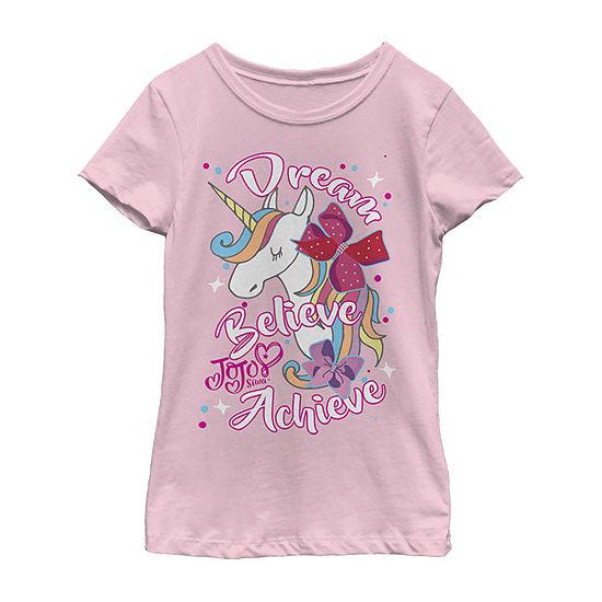 Jojo Siwa Dream Believe Achieve Unicorn Girls Crew Neck Short Sleeve Graphic T-Shirt - Preschool / Big Kid Slim