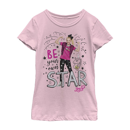 Jojo Siwa Be Your Own Star Flex Stance - Little Kid / Big Kid Girls Slim Crew Neck Short Sleeve Graphic T-Shirt