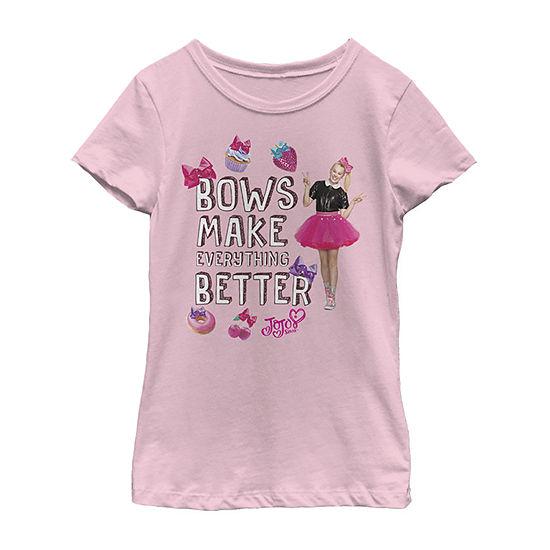 Jojo Siwa Bows Make It Better Girls Crew Neck Short Sleeve Graphic T-Shirt - Preschool / Big Kid Slim