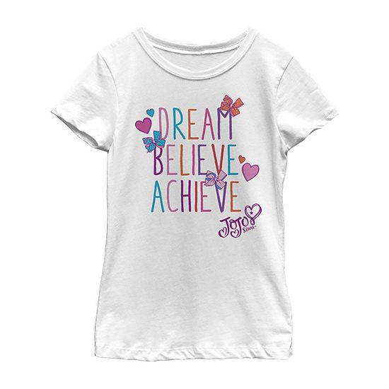 Jojo Siwa Dream Believe Achieve Girls Crew Neck Short Sleeve Graphic T-Shirt - Preschool / Big Kid Slim