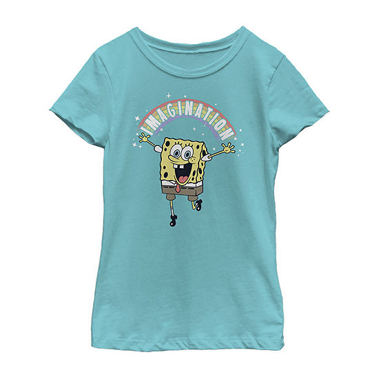 Spongebob Squarepants Imagination Rainbow Girls Crew Neck Short Sleeve Spongebob Graphic T-Shirt - Preschool / Big Kid Slim