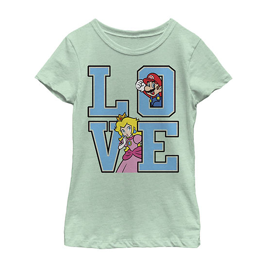 Super Mario Love Letters Girls Crew Neck Short Sleeve Graphic T-Shirt - Preschool / Big Kid Slim
