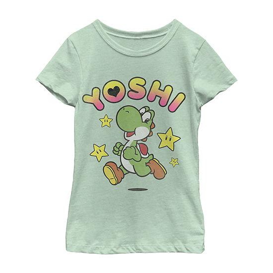 Nintendo Super Mario Yoshi Star Power Sprint Girls Crew Neck Short Sleeve Graphic T-Shirt - Preschool / Big Kid Slim