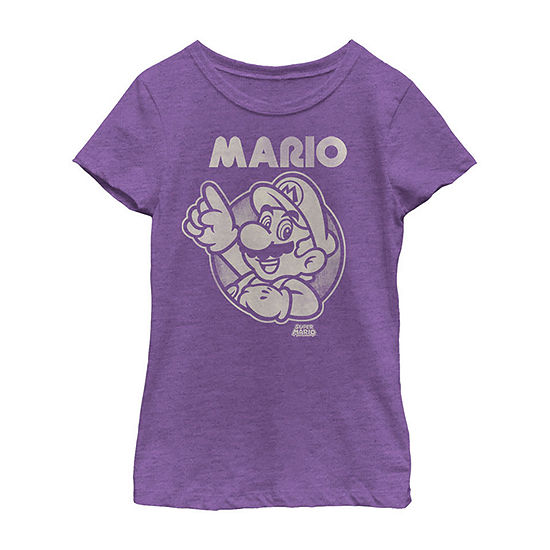 Nintendo Super Mario Pointing Line Art Girls Crew Neck Short Sleeve Super Mario Graphic T-Shirt - Preschool / Big Kid Slim