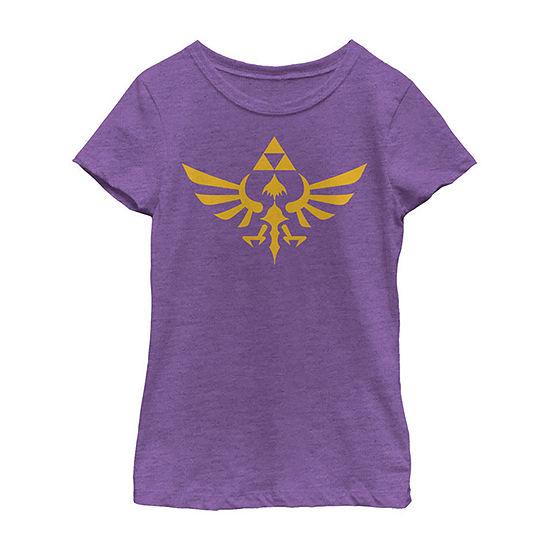 Nintendo Legend Of Zelda Blue Royal Crest Girls Crew Neck Short Sleeve Graphic T-Shirt - Preschool / Big Kid Slim