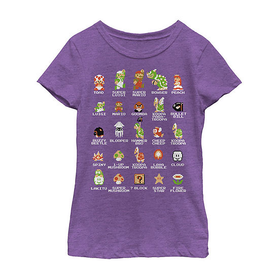 Nintendo Super Mario 8-Bit Pixel Icons List Vintage Girls Crew Neck Short Sleeve Graphic T-Shirt - Preschool / Big Kid Slim