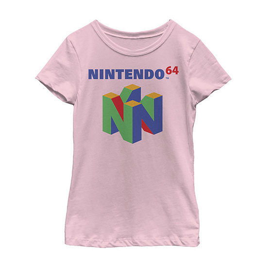 Nintendo 64 Classic Logo Retro Vintage Little & Big Girls Slim Crew Neck Short Sleeve Graphic T-Shirt