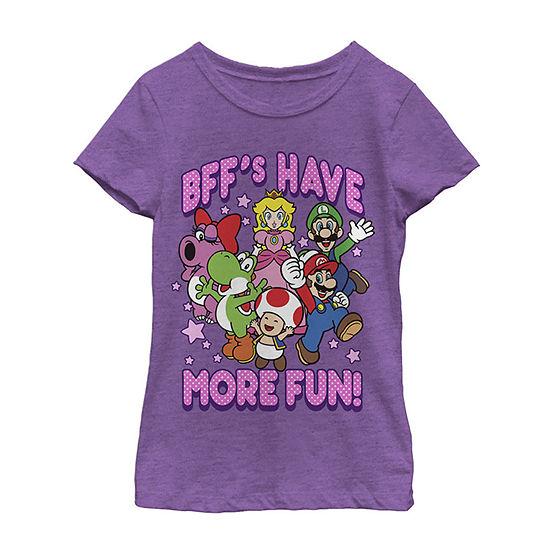 Nintendo Super Mario Bff'S Have More Fun Colorful Group Shot Girls Crew Neck Short Sleeve Graphic T-Shirt - Preschool / Big Kid Slim