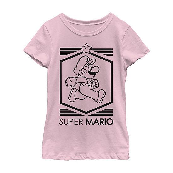 Nintendo Super Mario Star Walk Streetwear Little & Big Girls Slim Crew Neck Short Sleeve Graphic T-Shirt