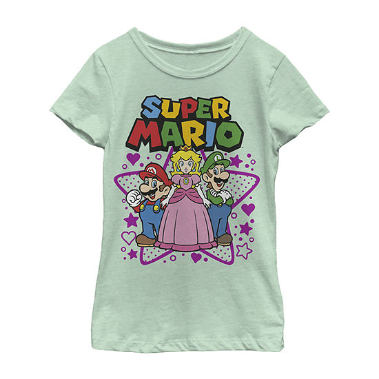 Nintendo Super Mario Peach Luigi Trio Stars And Hearts Girls Crew Neck Short Sleeve Graphic T-Shirt - Preschool / Big Kid Slim