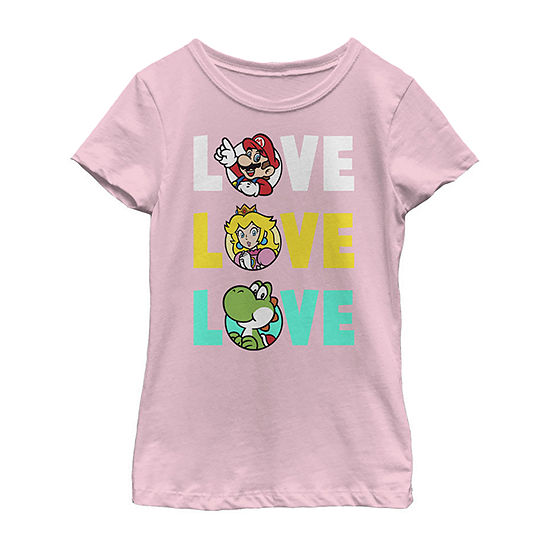 Nintendo Super Mario Love Colorful Text Word Stack Group Shot Girls Crew Neck Short Sleeve Graphic T-Shirt - Preschool / Big Kid Slim