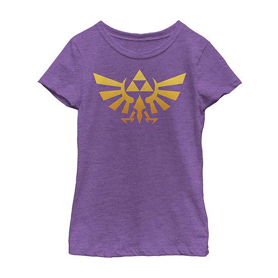 Nintendo Legend Of Zelda Royal Crest Orange Hue Badge Girls Crew Neck Short Sleeve Zelda Graphic T-Shirt - Preschool / Big Kid Slim