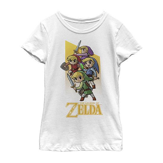 Legend Of Zelda Four Links Girls Crew Neck Short Sleeve Zelda Graphic T-Shirt - Preschool / Big Kid Slim