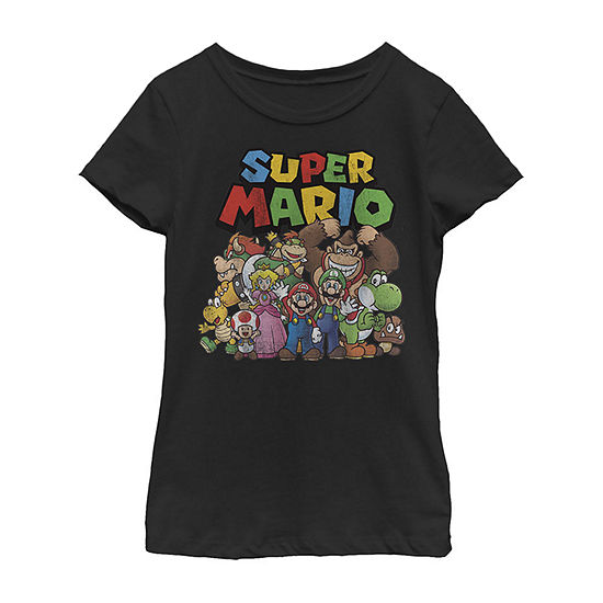 Nintendo Super Mario Full Cast Group Shot Classic - Little Kid / Big Kid Girls Slim Crew Neck Short Sleeve Graphic T-Shirt