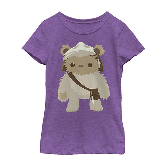 Star Wars Lumat Ewok Cute Cartoon Warrior - Little Kid / Big Kid Girls Slim Crew Neck Star Wars Short Sleeve Graphic T-Shirt
