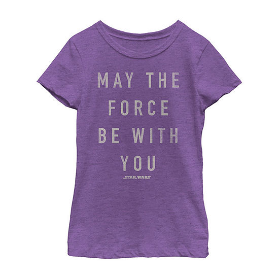 Star Wars May The Force Be With You Silver Shimmer Girls Crew Neck Short Sleeve Star Wars Graphic T-Shirt - Preschool / Big Kid Slim