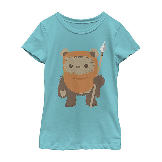 Star Wars Wicket Ewok Chibi Kawaii Cute Girls Crew Neck Short Sleeve Star Wars Graphic T-Shirt - Preschool / Big Kid Slim