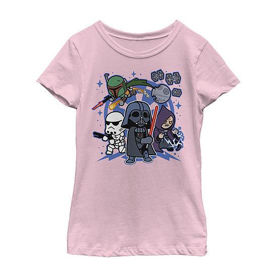 Star Wars Vader Kawaii Chibi Team Empire Girls Crew Neck Short Sleeve Star Wars Graphic T-Shirt - Preschool / Big Kid Slim