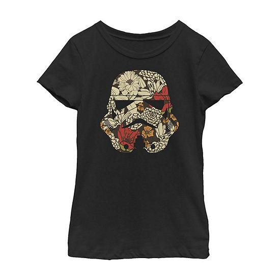 Star Wars Stormtrooper Black & White Plaid Faced Little & Big Girls Slim Crew Neck Star Wars Short Sleeve Graphic T-Shirt