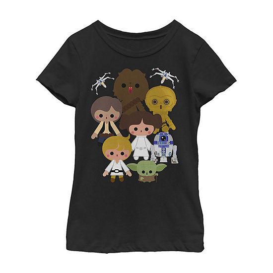 Star Wars Cute Kawaii Style Heroes Girls Crew Neck Short Sleeve Graphic T-Shirt - Preschool / Big Kid Slim