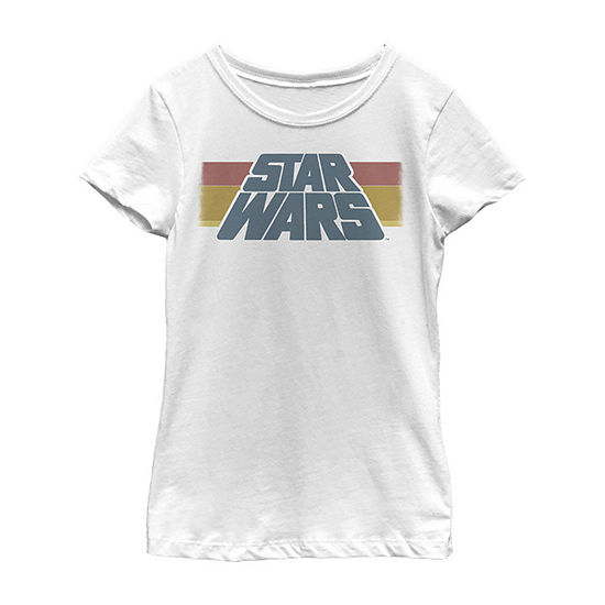 Star Wars Vintage Slanted Logo Retro Striped Little & Big Girls Slim Crew Neck Star Wars Short Sleeve Graphic T-Shirt