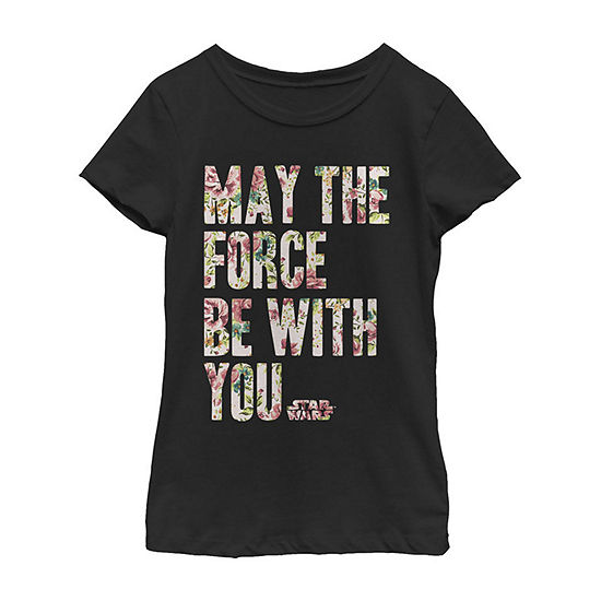 May The Force Be With You Floral Fill - Little Kid / Big Kid Girls Slim Crew Neck Star Wars Short Sleeve Graphic T-Shirt