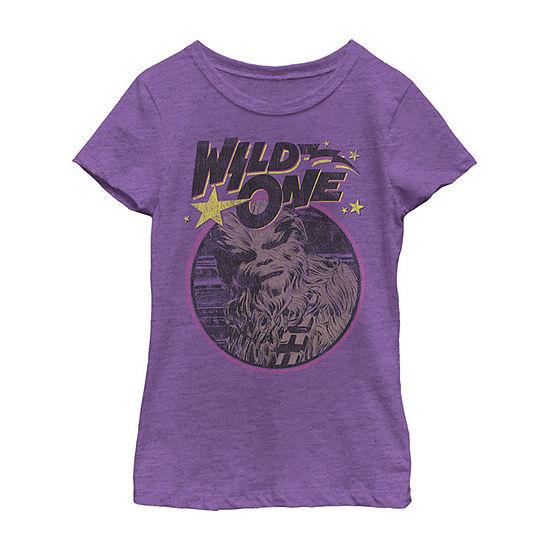 Chewbacca Chewy Child Girls Crew Neck Short Sleeve Star Wars Graphic T-Shirt - Preschool / Big Kid Slim