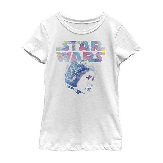 Princess Leia Pop Art - Little Kid / Big Kid Girls Slim Crew Neck Star Wars Short Sleeve Graphic T-Shirt