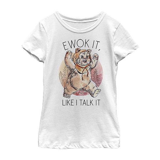 Ewok It - Little Kid / Big Kid Girls Slim Crew Neck Star Wars Short Sleeve Graphic T-Shirt