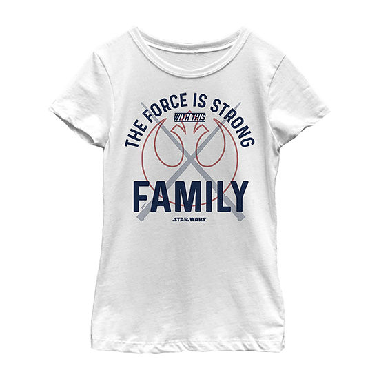 Star Wars Force Is Strong Rebel Family Girls Crew Neck Short Sleeve Graphic T-Shirt - Preschool / Big Kid Slim