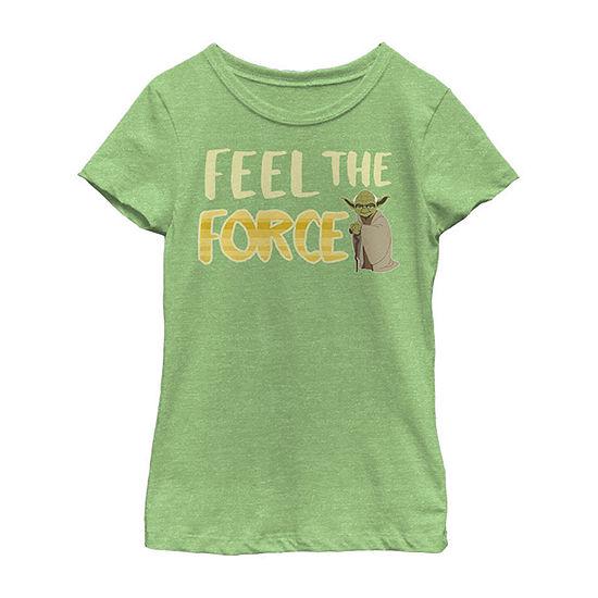 Star Wars Galaxy Of Adventures Yoda Force Feel G1p Girls Crew Neck Short Sleeve Star Wars Graphic T-Shirt - Preschool / Big Kid Slim