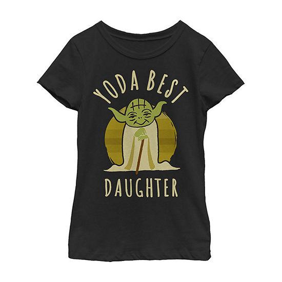 Star Wars Yoda Best Daughter Cartoon Yoda - Little Kid / Big Kid Girls Slim Crew Neck Star Wars Short Sleeve Graphic T-Shirt