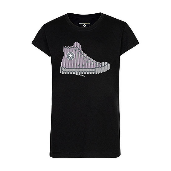 Converse Girls Crew Neck Short Sleeve Graphic T-Shirt - Big Kid