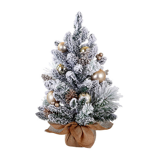 Kurt Adler Kurt Adler 24-Inch Flocked Tree With Ornaments, Pinecones And Burlap 2 Foot Christmas Tree