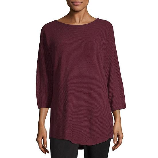Worthington Womens Side Zip Tunic Sweater