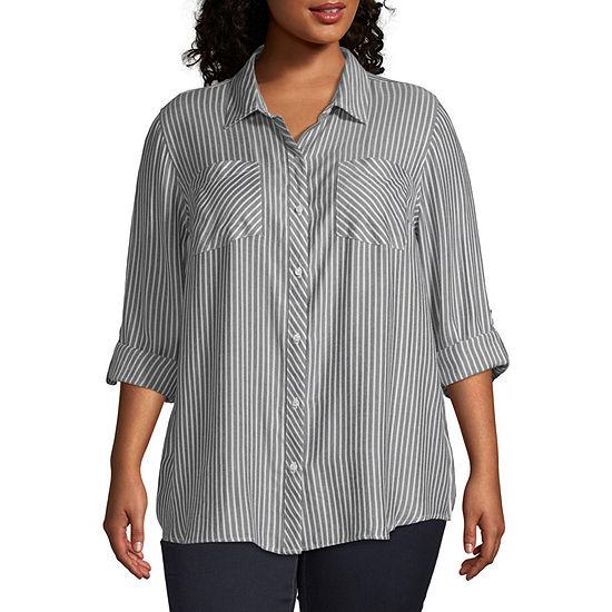 a.n.a-Plus Womens Long Sleeve Regular Fit Button-Front Shirt