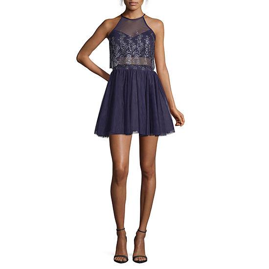 Social Code Long Sleeve Party Dress-Juniors