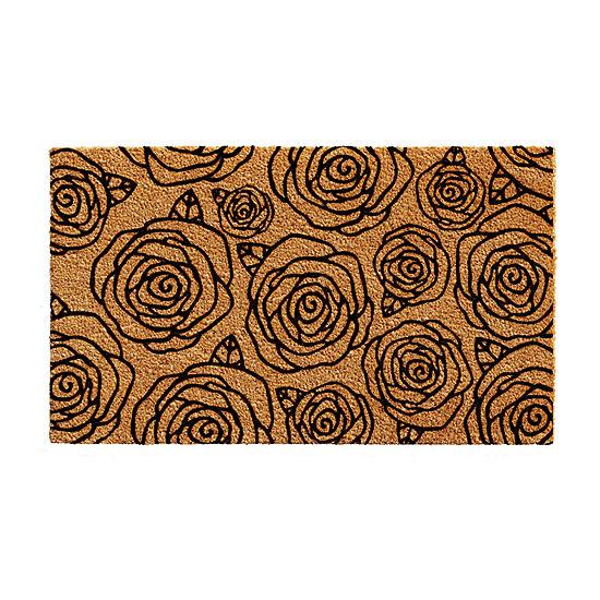 Black Rose Rectangular Outdoor Doormat