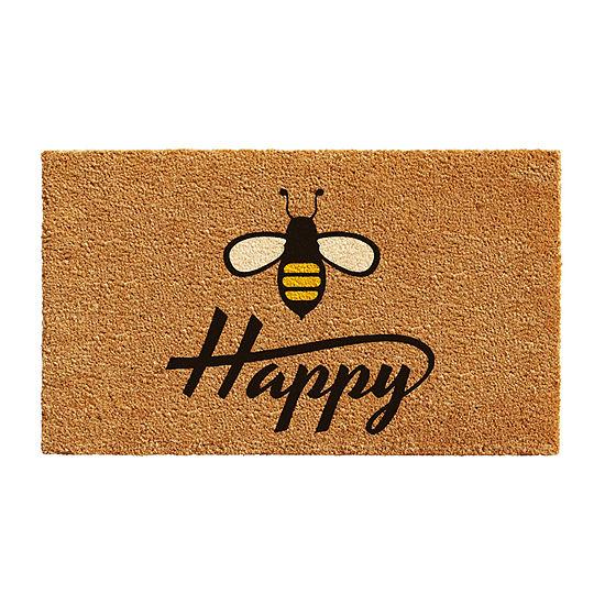 Bee Happy Rectangular Outdoor Doormat